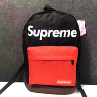 Supreme Canvas Backpack College High Splicing School Bag Travel Bag