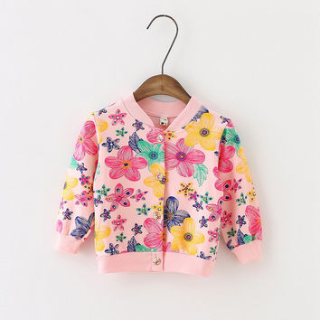 Fashion Casual Autumn Baby Infants Girls Print Flower Casual Jackets Cardigan Coat Outwear Coats Casacos S3898