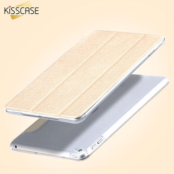 KISSCASE Elegant Silk Skin PU Leather Case For iPad Mini 4 Ultra Thin Matte Case Cover for iPad Mini 4 3 Folded Clear Back Shell