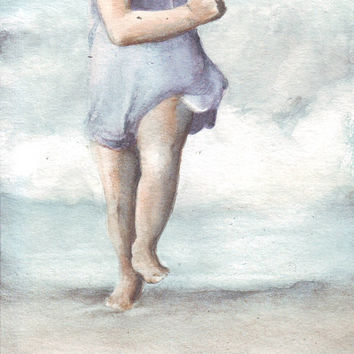 HM089 Original art watercolor painting Little Girl on Beach by Helga McLeod