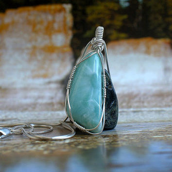 Dominican Larimar silver wire wrapped free form pendant with necklace