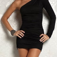Black One-Shoulder Ruched Mini Dress