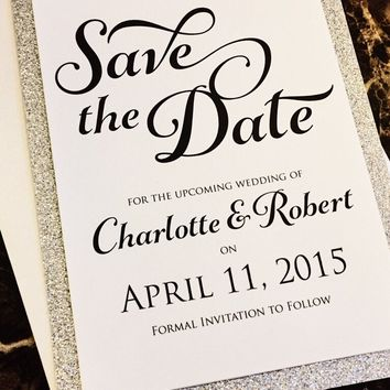 Glitter Wedding Save the Date; Silver Glitter Save the Date; CHARLOTTE version