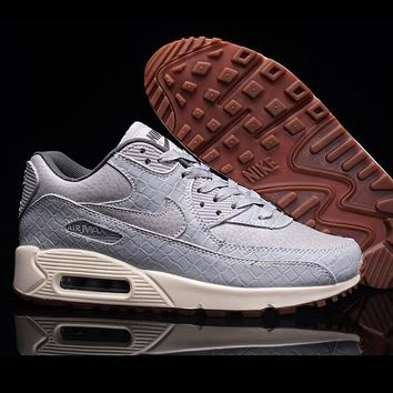 NIKE AIR MAX 90 Sneakers Grey Trending Snake Skin Texture Women Sneakers B-A-QDSK-Buy Micro