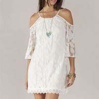Cream Lace Cutout Shoulder Dress