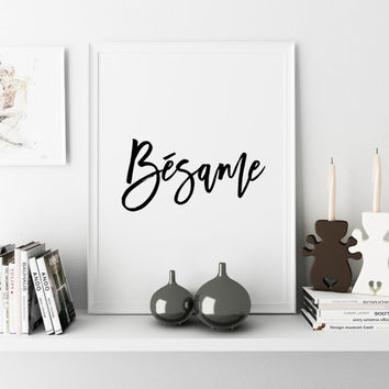 Scandinavian Design Poster Love Printable Printable Word Art Besame Kiss Me Love Art Printable Minimalist Art Typographic Print SPANISH WORD