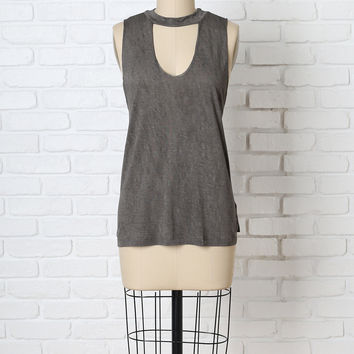 Gray Mock Neck Tank-FINAL SALE