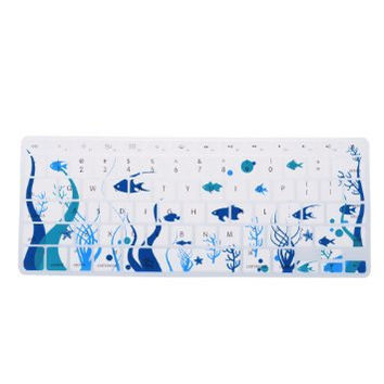 "Blue White Ocean Coral Reef Fish Theme Keyboard Cover Decal Skin for Apple Macbook Macbook Pro iMac Keyboard  13"" 15"" 17"""