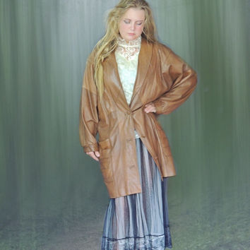 Vintage oversize leather jacket / classic 80s coat / warm tan brown blouson style