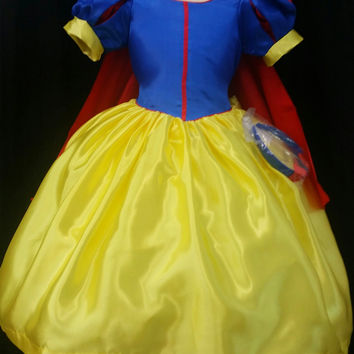 Girls Disney Princess SNOW WHITE Yellow Blue Redcape Cap Sleeve Costume pageant Party Dress