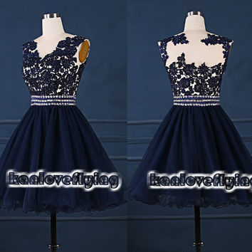 navy blue short sheer top homecoming dress,2015 new prom dresses,mini dress,short party dress gown,cocktail dress,knee length sweet16 dress