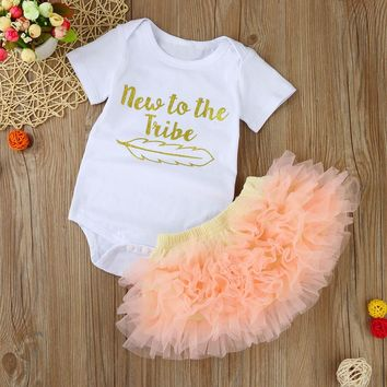 2PCS Baby clothes Kids Baby Girls Letters Short Sleeve Romper Jumpsuit+Skirt Set Clothes ping