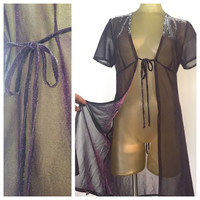 Sparkly Purple Lingerie Robe, Short Sleeve Vintage Duster, Tie Front Open Blouse, See Through Sheer Cover Up, Purple Lingerie Top, Sparky M
