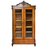 19th Century Louis Philippe Vitrine or Bookcase in Walnut