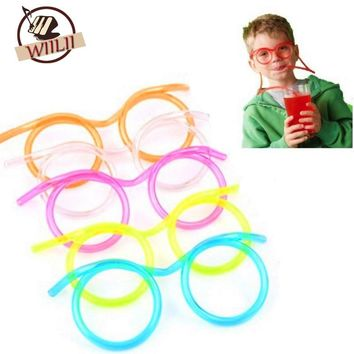 Funny Colorful Soft Glasses Straw Unique Flexible Drinking Tube Kids Party Gift (Color Random Delivery)