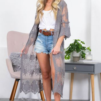 Authentic Grey Lace Kimono