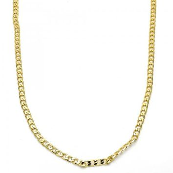 Gold Layered 04.213.0086.24 Basic Necklace, Curb Design, Polished Finish, Golden Tone