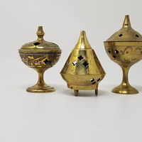 Vintage Brass Temple Cone Incense Burners Set of Three