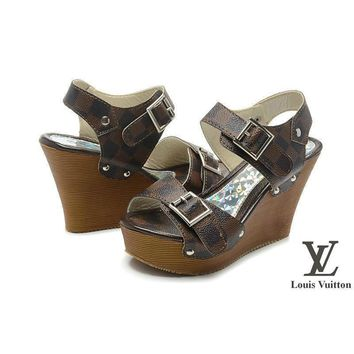 Louis Vuitton Women Fashion Platform Heels Sandals Shoes-3