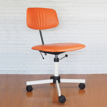 Jørgen Rasmussen KEVI Task Chair for Rabami Stole Denmark / Orange Swivel Desk Chair / Danish Modern Office Furniture