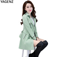 YAGENZ Spring Women Long Sleeve Trench Coat 2017 Autumn Solid color Slim Long Windbreaker Women Casual Overcoat Plus size 4XL