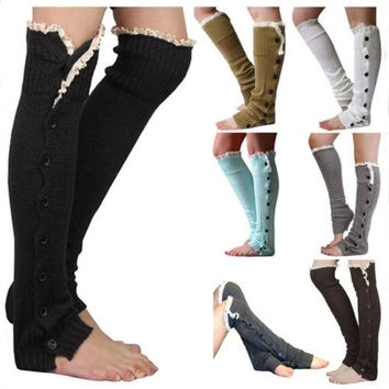 Women Fashion Knee High Stockings Girls Warm Knitted Boot Socks = 1946107908