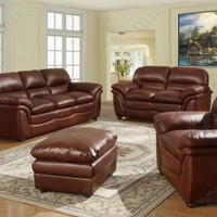 Heartland Furniture - Heartlands Furniture Fernando Bonded Leather 3+1+1+S Sofa Suite