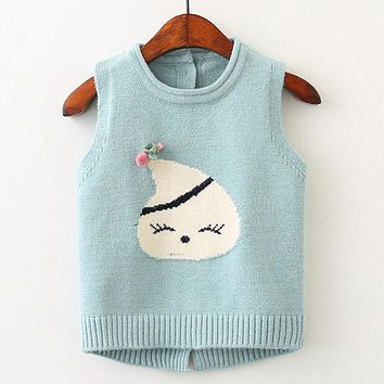 Children Clothing Outerwear&Coats New Autumn Baby Girl Clothes Sleeveless Animal Graffiti Print for Girls Jackets