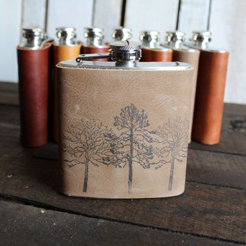 *Customizable* Three Trees Leather Hip Flask