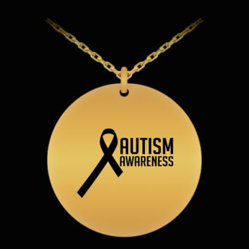 Autism Awareness Ribbon 18K Gold Plated Chain