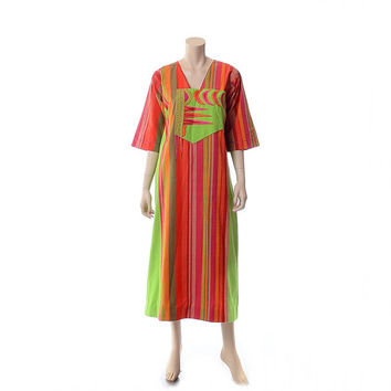 Vintage 60s 70s Josefa Mexican Embroidered Maxi Dress 1960s 1970s Hippie Boho Designer Hippy Woodstock Gypsy Festival Caftan