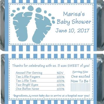 10 Blue Baby Feet Baby Shower Chocolate Bar Wrappers