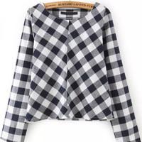 Black and White Plaid Long Sleeve Crop Top