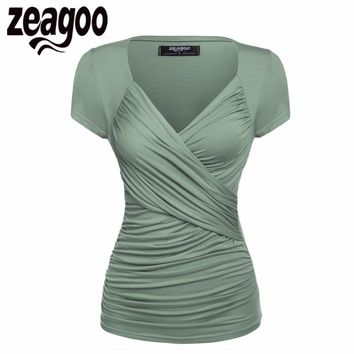Zeagoo Women Short Sleeve T-Shirt Summer Slim TShirt Sexy V-Neck Cotton Soft Lady Tshirt Women Tops Summer Clothing 15 Color XXL