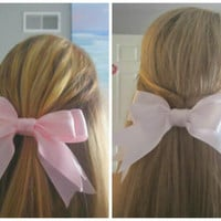 Cute Double Hair Bows Ponytail Holder Pretty Girly Fabric Ribbon Light Pink OR White