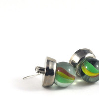 Upcycled Earrings Marble and Retro Button Silver Green Red Yellow Sci-Fi Inspired Jewellery
