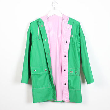 Vintage 1980s Fully Reversible Raincoat Kelly Green Pink PVC Waterproof Izod Lacoste Gator Embroidered Patch 80s Rain Jacket Trench S Small