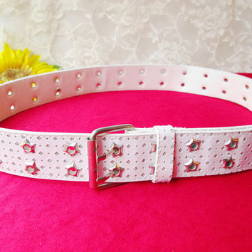 White Glitter Leather Women Belt Wide Belt Sparkle Double Prong Holes Vintage Metal Star Grommets Boho Rave Festival Hippie Glamour Disco