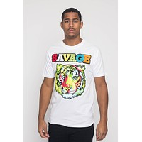 Colorful Chenille Patched Savage Tiger T-Shirt
