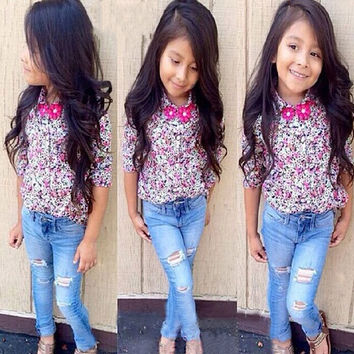 2Pcs Baby Girl Clothing Set Top Floral Long Sleeve T-Shirt Denim Jeans Set  D_L SV020021 = 1929987780