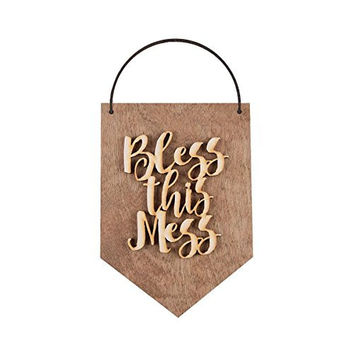 BLESS THIS MESS Hanging Decorative Wooden Sign Wall Decor