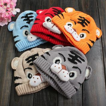 Newborn Baby Kid Tiger Pattern Animal Beanie Knit Crochet Hat Winter Warm Cap
