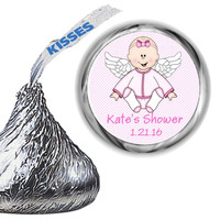 Angel Baby Girl Shower Hershey Kiss Stickers