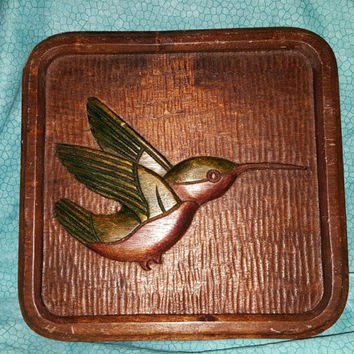 Old Folk Art Carved Wooden Wall Plaque of Flying Humming Bird