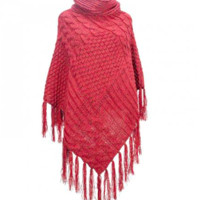 Patchwork Knit Poncho | Multiple Color Choices