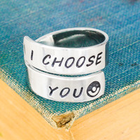 I Choose You - Pokeball - Adjustable Aluminum Wrap Ring