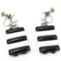 Black White Lucite Screw Back Earrings Silver Tone Signed Japan Drop Dangle 9950s Vintage Estate Jewelry Designer Signed Asian Costume Clip