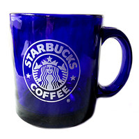 Cobalt Blue Glass Starbucks Coffee Mug Cup 12oz Siren Mermaid Logo k205