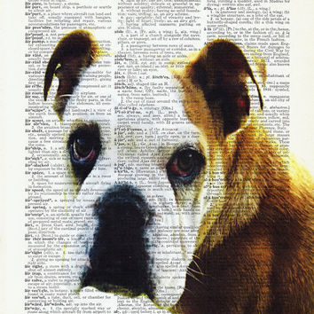 Boxer Dog Art Print. Cool Man GIFT-Dog Poster Print-Dog Lover Gift-Gift For Men-Husband Birthday,Gift for friend- Poster Print-Gift For wife
