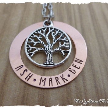 Personalized COPPER Hand Stamped Necklace  Mom Grandma  Gift for her  Tree of Life  Mother's Necklace Grandmother Necklace  Baby Shower Gift
